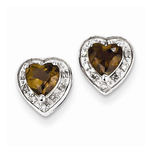 Solid 925 Sterling Silver Diamond Brown Simulated Smokey Quartz Earrings (.06 cttw.) (8mm x 7mm)