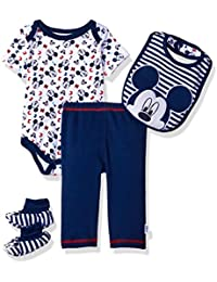 Disney Baby Boys' Mickey Mouse 4-Piece Bodysuit, Pant, Bib, and Booties Set