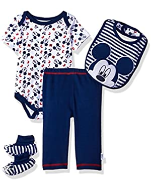 Baby Boys' Mickey Mouse 4-Piece Bodysuit, Pant, Bib, and Booties Set
