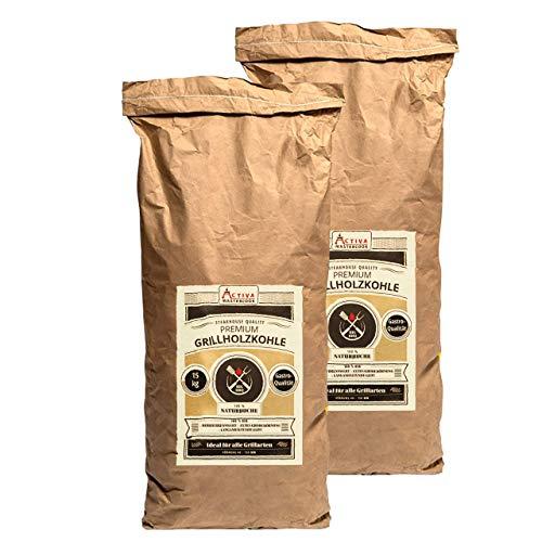 """ACTIVA """"Premium Gastro Grillkohle 30 kg (2 x 15 kg) Buche Holzkohle Buchenholzkohle Grillholzkohle Steakhausqualität Steakhouse Qualität Premium Restaurant Qualität"""