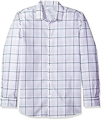Calvin Klein Men's Infinite Cool Long Sleeve Button Down Shirt Blown up Plaid