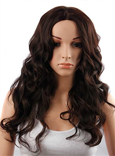 Topwigy Women's 26inch Long Curly Wigs Heat Resistant Synthetic Wavy Wigs Curly Black Natural Wavy Wigs Costume Wigs Cosplay Wigs (Cosplay Shop Online)