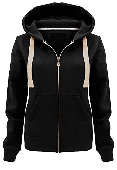 e936d7983 Womens Plain Hoodie Ladies Hooded Zip Zipper TOP Sweat Shirt Jacket ...