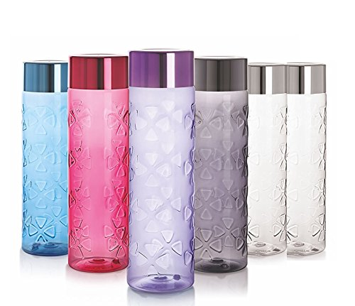 Cello Premium Water Bottles - Pack of 6 - 33 oz each- Assorted Colors- BPA FREE - Unbreakable- 100% Food Grade - Freezer Safe - Leak Proof - Crystal Clear - Big Mouth Cap - Reusable Drinking Bottles - Love Trek Water Bottle