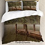 SfeatruAngel Bedding 3-Piece Set Duvet Cover Set,Wooden Pier in Lake with Trees Forest Landscape Foggy Morning in Woodland,Full Size,1 Quilt Cover 2 Pillow Shams,Olive Green Brown