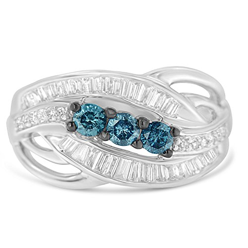 10K White Gold Treated Blue Round and Baguette Diamond Swirl Ring (1 cttw, Blue Color, SI2-I1 Clarity) Baguette Diamond Swirl Ring