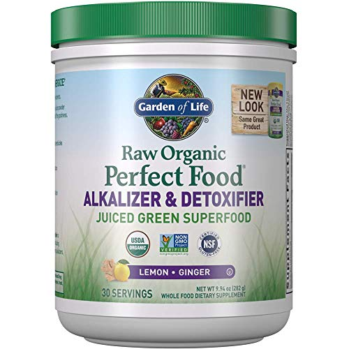 Garden of Life Raw Organic Perfect Food Alkalizer & Detoxifier Juiced Greens Superfood Powder - Lemon Ginger, 30 Servings (Packaging May Vary) - Non-GMO, Gluten Free Whole Food Dietary Supplement