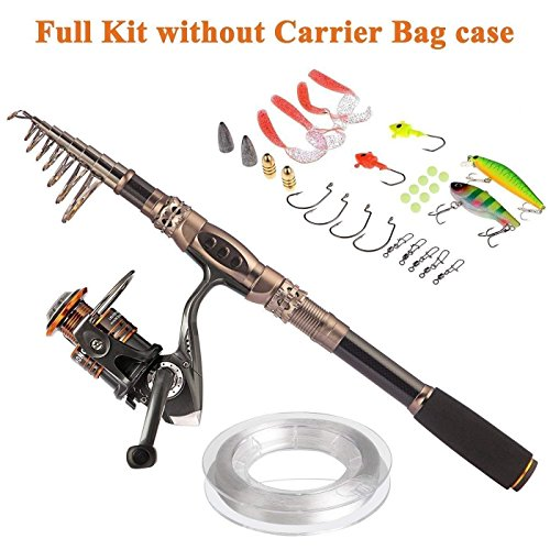 PLUSINNO Fishing Rod and Reel Combos Carbon Fiber Telescopic Fishing Rod with Reel Combo Sea Saltwater Freshwater Kit Fishing Rod Kit … -