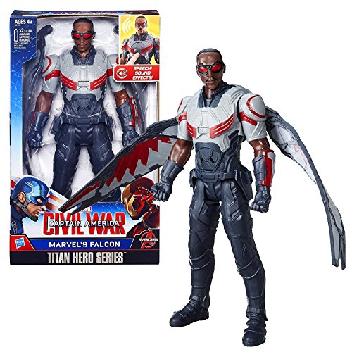Marvel Year 2015 Captain America Civil War Titan Hero Series 12 Inch Tall Electronic Figure - MARVEL'S FALCON with Detachable Wings & Sounds