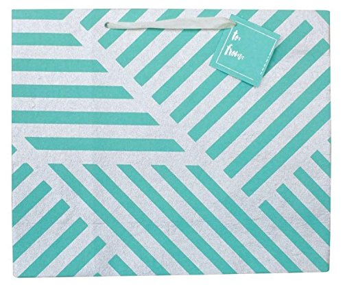BEST LARGE LUXURY GIFT BAG : GEOMETRIC ZIGZAG TEAL GREEN & SILVER PREMIUM (SET OF 3) - Luxury Wrapping Paper