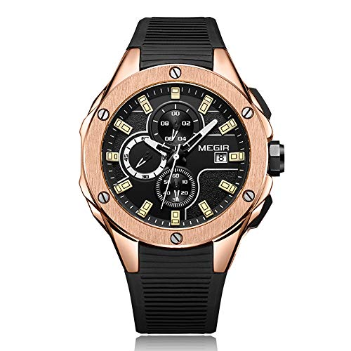 (Men Sport Watch, Water Resistant Watch, Quartz Movement Chronograph Silicone Strap Multifunction Stainless Steel Dial,Gold)