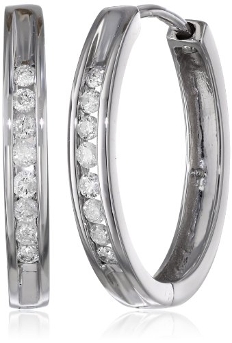 10k White Gold Channel-Set Diamond Hoop Earrings (1/4 cttw, H-I Color, I2-I3 Clarity) by Amazon Collection
