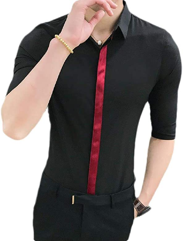 BYWX Men Slim Fit Short Sleeve Casual Button Front Shirts