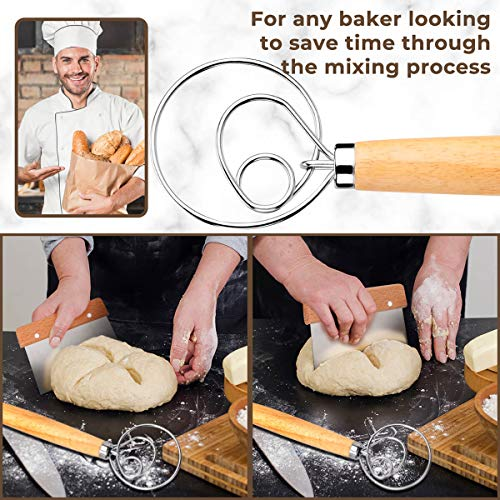Tobepico Danish Dough Whisk Bread Mixer,Premium Danish Dough Whisk and Bread Lame Set with Free 5 Replaceable Razor Blades and Leather Protective Cover for Bread, Pastry or Pizza Dough.