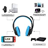 Gaming-headset-SL-300-with-mic-for-PS4-Xbox-one-PC-Computer-EZONE-Noise-Cancelling-Over-Ear-Headphones-with-Microphone-Surround-Sound-Volume-Control-Soft-Memory-Earmuffs-Blue