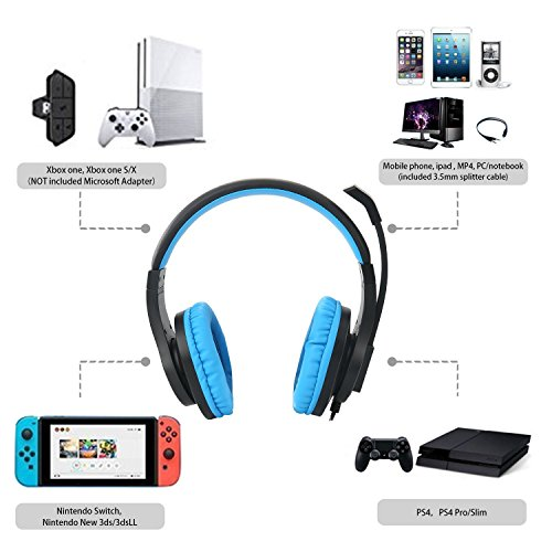 51nKx9CyzpL - Gaming headset SL-300 with mic for PS4, Xbox one, PC, Computer, EZONE Noise Cancelling Over Ear Headphones with Microphone, Surround Sound, Volume Control, Soft Memory Earmuffs-Blue
