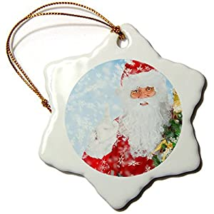 DCKLOIK Santa in Snow 3 Inch Porcelain Snowflake Decorative Hanging Ornament
