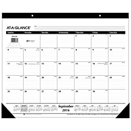 AT-A-GLANCE Academic Year Monthly Desk Pad Calendar, September 2016 - Dec. 2017, 16 Months, 21-3/4\