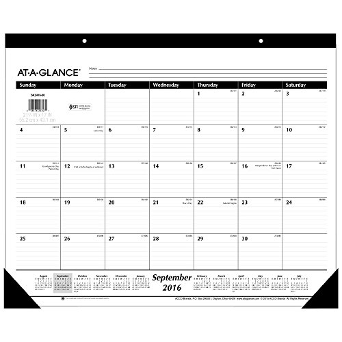 AT-A-GLANCE Academic Year Monthly Desk Pad Calendar, September 2016 - Dec. 2017, 16 Months, 21-3/4