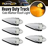 Partsam 5pc Super Bright Amber Yellow 17 LED Clear Lens Torpedo Chrome Cab Marker Top Clearance Roof Running Lights Assembly For Kenworth Peterbilt Freightliner International Mack Paccar Semi Truck