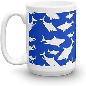 GYM SHARK Mug 15 Oz White Ceramic