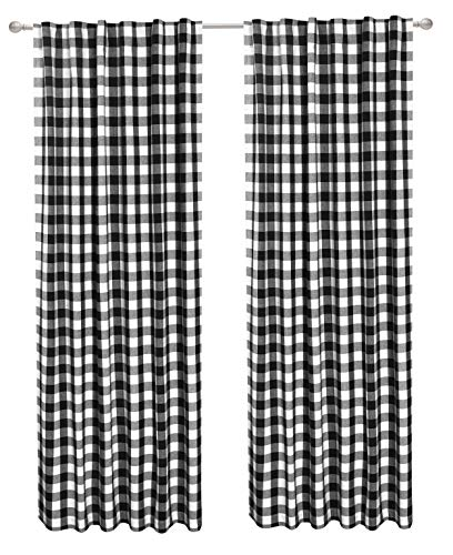 (CottonLin 2Pack Buffalo Check tab top Reverse Curtain panels-50x108 - Black/White)