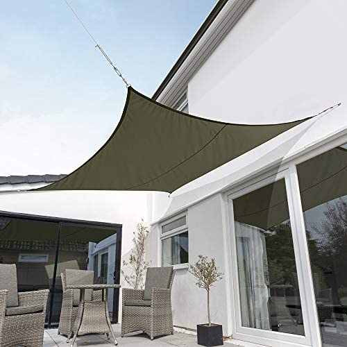 Kookaburra Waterproof Sage Sun Shade Sail Garden Patio Gazebo Awning Canopy 98 UV Block with Free Rope 17ft 9 Square