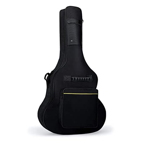 Doble correas Bold 5 mm grueso algodón 41 pulgadas bolsa de guitarra acústica Línea amarilla ritmo