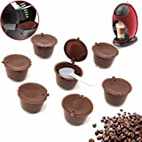 Refillable Dolce Gusto Reusable Coffee Capsules For Dolce Gusto Brewers Refill Cup Filter 7 Pack with Spoon