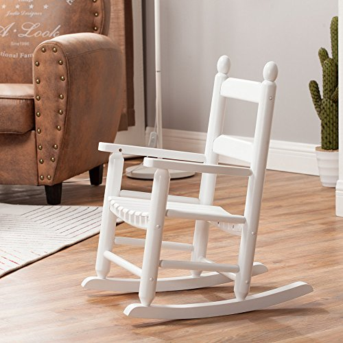 Rocking Kid's Chair Children's Rocking Chair Porch Rocker Solid Wood Classic - Indoor/Outdoor(KD-20W, White)