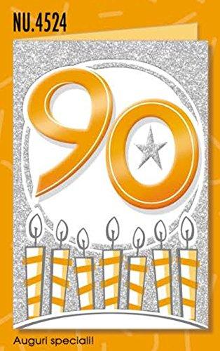 Subito Disponibile Biglietto Auguri Compleanno 90 Anni Glitter Metal