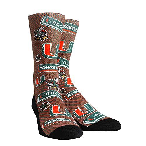 NCAA Super Premium College Fan Socks (Kids, Miami Hurricanes - Logo Statement) - Hurricanes Kids Accessories