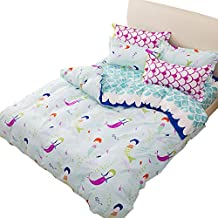 LemonTree 3Pcs Girl's Luxurious&Extremely Durable Premium Bedding Collection - Blue wave Small mermaid pattern -1 Duvet Cover+2 Pillowcases (Full/Queen 90''x90'')