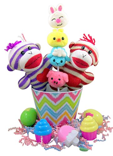 Striped Sock Monkey Easter Basket with Cupcake Shape Eggs and Sucker