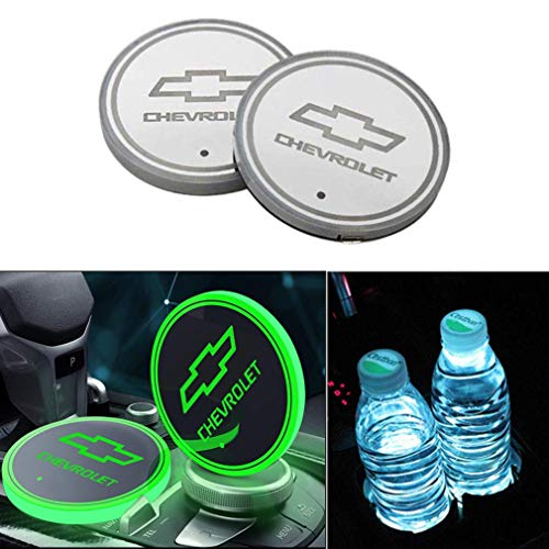 YELOS LED Car Cup Holder Lights, Car Logo Coaster with 7 Colors Changing USB Charging Mat, Luminescent Cup Pad Interior Atmosphere Lamp Decoration Light for Chevrolet (2 PCS)