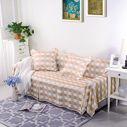 RUGAI-UE Sofa Slipcover General living room sofa cover cloth three sofa cloth Upholstered Sofa bed full lattice,Right royal concubine 170×260cm,Elegant lattice - Beige