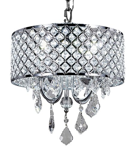 Top Lighting 4-Light Chrome Round Metal Shade Crystal Chandelier Pendant Hanging Ceiling Fixture