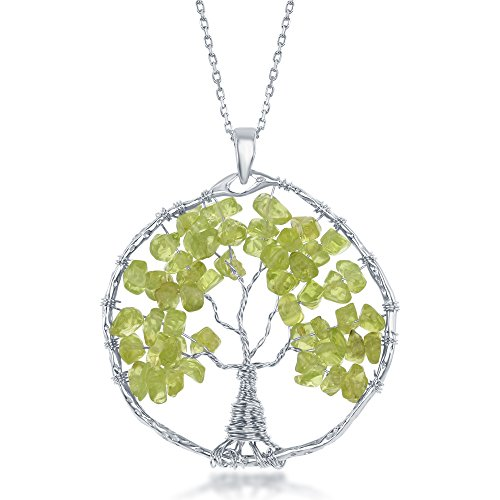 Sterling Silver Peridot Natural Gemstone Beads Tree of Life 30