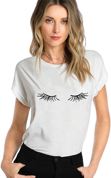 e0853e96da Fashion Womens Summer Loose Short Sleeve Blouse Ladies Casual Tops Eyelash  T-Shirt