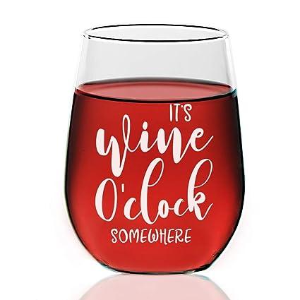 be8eb413fe0 Amazon.com   Chloe & Madison It's O'clock Engraved Wine Glasses 21 ...