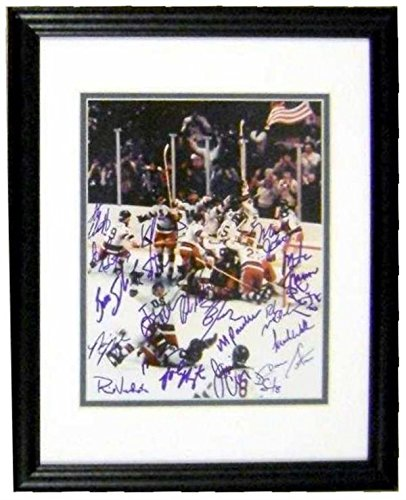 1980 United States Olympic Hockey Team autographed 8x10 photo signed by 20 players and Coach Herb Brooks (The Miracle On Ice) matted and framed (1980 Framed Olympic Hockey)