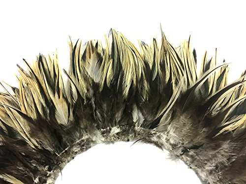 4 Inch Strip - Natural Golden Badger Strung Chinese Rooster Saddle Feathers DIY Craft Fly Tying   Moonlight Feather