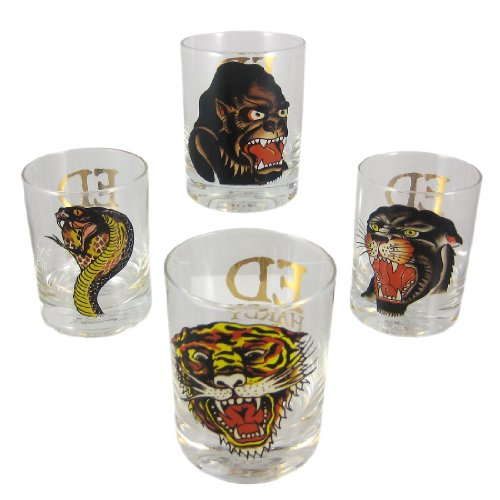 Set of 4 Ed Hardy PREDATORS Double Rocks - Hardy Glass