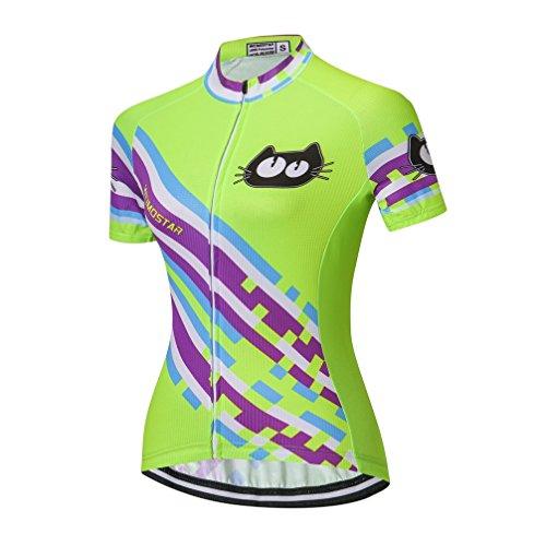 Women's Cycling Jersey Biking Shirt Summer Breathable Short Sleeve Clothing Full Zip Bicycle Jerseys (Green (Thermal Full Zip Jersey)