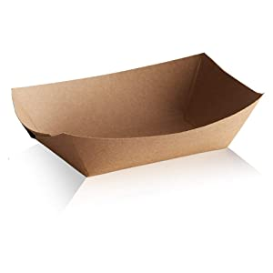Disposable Paper Food Trays 2Lb-Heavy Duty, Grease Resistant 100 Pack. Durable, Ideal for Festival Holds Treats Like Hot Dogs, Fries, Nachos (NATURALECO)