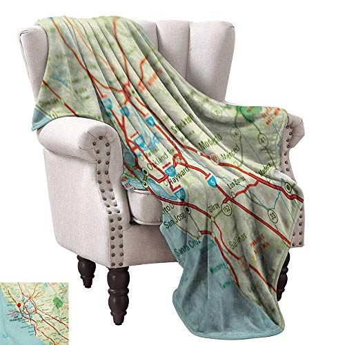 Map Blanket Sheets Vintage Map of San Francisco Bay Area with Red Pin City Travel Location Fall Winter Spring Living Room 60