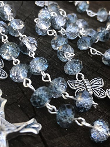 Catholic Rosary Womens Rosary Crystal Rosary Femanine Rosary Catholic Prayer Beads Blue Rosary. Catholic Rosary Beads Butterfly Rosary