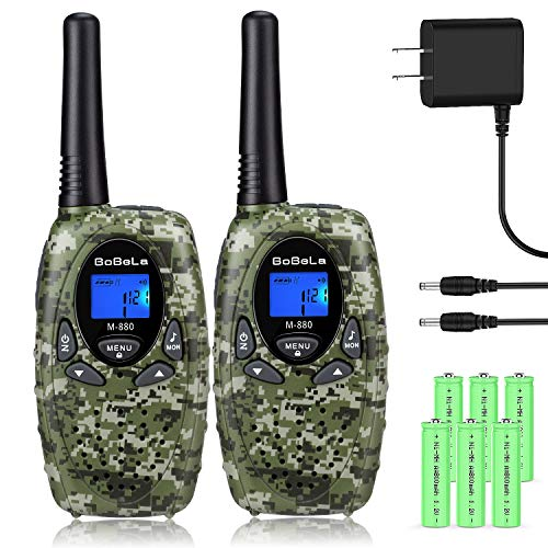 Bobela Walkie Talkies for Adults, Rechargeable 22 Channels Handheld Long Range Two Way Radio FRS GMRS Durable Walky Talky Clear Sound for Outdoor Adventures Camping Hiking (M880 Camo,2 Pack)
