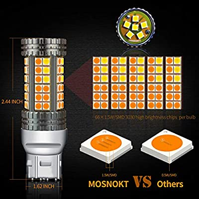 MOSNOKT 7443 Error Free Canbus Ready Dual Color Switchback LED Turn Signal Light Bulbs DRL Parking Lamp No Hyper Flash White/Amber Yellow 2-Pack (7443): Automotive