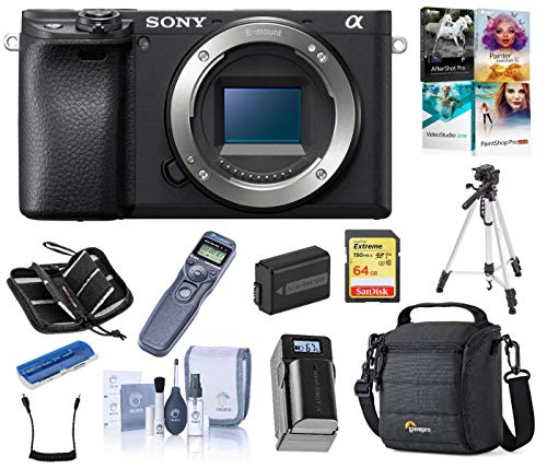 Sony Alpha a6400 Mirrorless Digital Camera Body, Bundle with Cam Bag + Battery + Remote Shutter Trigger + 64GB SD Card…